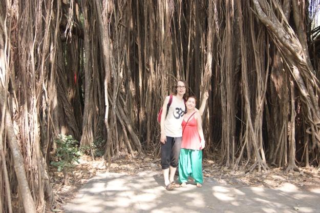 ja z Anetą, na Goa  pod pięknym drzewem banianu